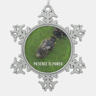 Adorno De Peltre Tipo Copo De Nieve La paciencia es poder • Cocodrilo • Suspensión del