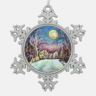 Adorno De Peltre Tipo Copo De Nieve Luna Llena del invierno silencioso de la noche en