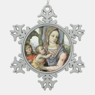 Adorno De Peltre Tipo Copo De Nieve Madonna y niño con San José y un ángel