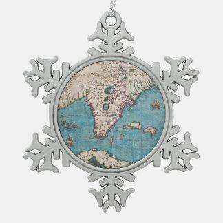 Adorno De Peltre Tipo Copo De Nieve Mapa antiguo de la Florida y de Cuba