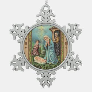 Adorno De Peltre Tipo Copo De Nieve Natividad santa Jesús Maria José de la familia del