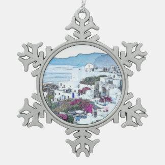 Adorno De Peltre Tipo Copo De Nieve Navidad de encargo Santorini Grecia