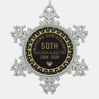 Adorno De Peltre Tipo Copo De Nieve Negro y plantilla del aniversario de boda del oro