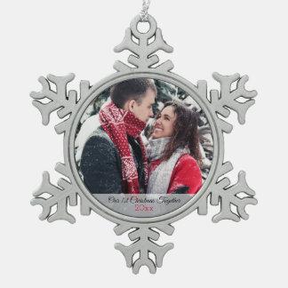 Adorno De Peltre Tipo Copo De Nieve Nuestra 1ra foto del navidad junto