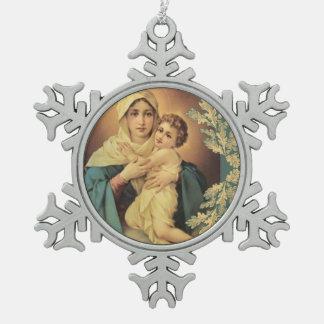 Adorno De Peltre Tipo Copo De Nieve Nuestra señora del bebé Jesús de Schoenstatt