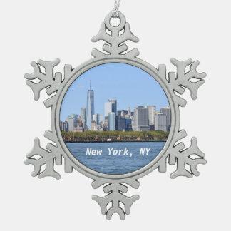 Adorno De Peltre Tipo Copo De Nieve Nueva York, ornamento del copo de nieve de NY