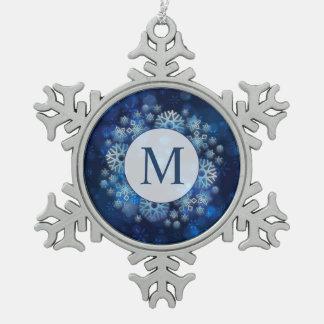 Adorno De Peltre Tipo Copo De Nieve Ornamento azul del copo de nieve del estaño del