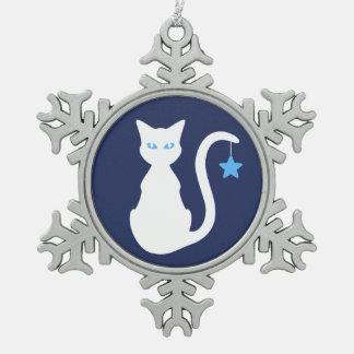 Adorno De Peltre Tipo Copo De Nieve Ornamento blanco del copo de nieve del gato