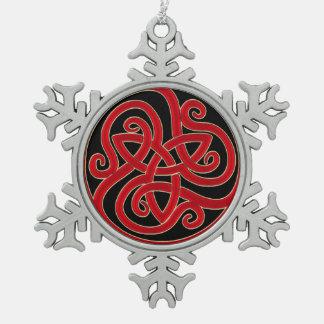 Adorno De Peltre Tipo Copo De Nieve Ornamento céltico del árbol de navidad del nudo