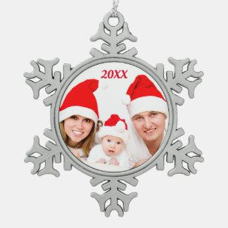 Adorno De Peltre Tipo Copo De Nieve Ornamento de encargo personalizado de la foto del