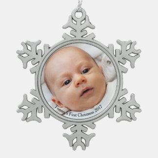 Adorno De Peltre Tipo Copo De Nieve Ornamento de la foto del navidad del bebé del copo