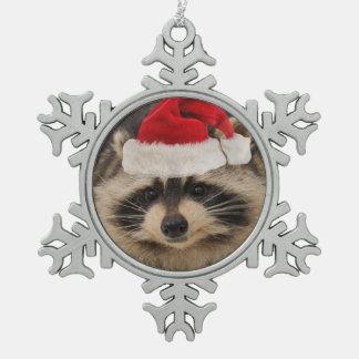 Adorno De Peltre Tipo Copo De Nieve Ornamento de santa del mapache