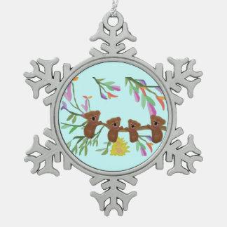 Adorno De Peltre Tipo Copo De Nieve Ornamento del copo de nieve de las koalas del bebé