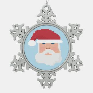 Adorno De Peltre Tipo Copo De Nieve Ornamento del día de fiesta del pixel 8bit Santa