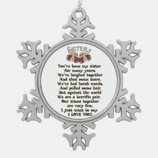 Adorno De Peltre Tipo Copo De Nieve Ornamento del poema del día de fiesta del navidad