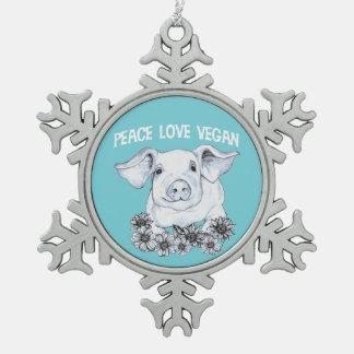 Adorno De Peltre Tipo Copo De Nieve Ornamento dibujado mano del navidad del cerdo del
