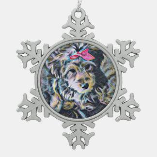 Adorno De Peltre Tipo Copo De Nieve Ornamento lindo de Yorkipoochi
