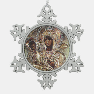 Adorno De Peltre Tipo Copo De Nieve Ornamento negro del navidad de Madonna
