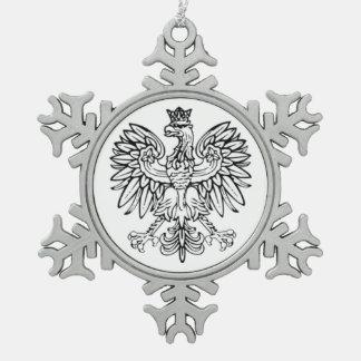 Adorno De Peltre Tipo Copo De Nieve Ornamento polaco del estaño de Eagle