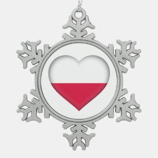 Adorno De Peltre Tipo Copo De Nieve Ornamento polaco del estaño del amor