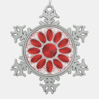 Adorno De Peltre Tipo Copo De Nieve Ornamento rojo de Navidad del estaño de la flor