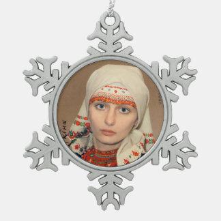 Adorno De Peltre Tipo Copo De Nieve Ornamento ucraniano del navidad del tocado