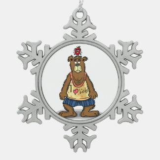 Adorno De Peltre Tipo Copo De Nieve Oso de Brown del dibujo animado que se coloca en