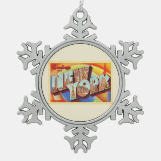 Adorno De Peltre Tipo Copo De Nieve Postal grande del viaje de la letra de New York