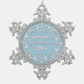 Adorno De Peltre Tipo Copo De Nieve Primer navidad personalizado elegancia de plata