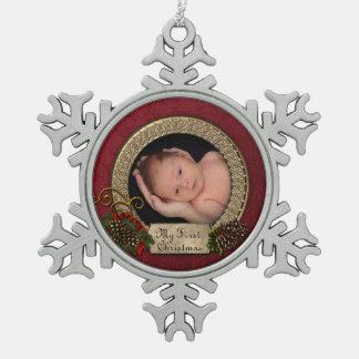 Adorno De Peltre Tipo Copo De Nieve Primer ornamento de la foto del navidad del bebé