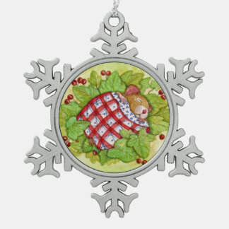 Adorno De Peltre Tipo Copo De Nieve Ratón soñoliento del navidad