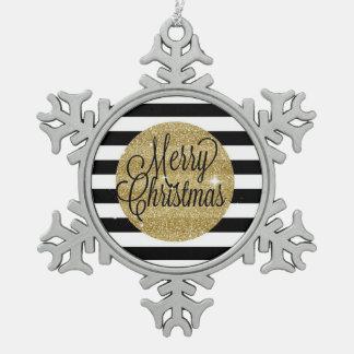 Adorno De Peltre Tipo Copo De Nieve Rayas de las Felices Navidad y ornamento del oro