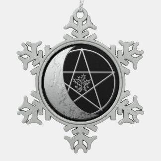 Adorno De Peltre Tipo Copo De Nieve Recuerdo creciente de plata 1 de la luna y del