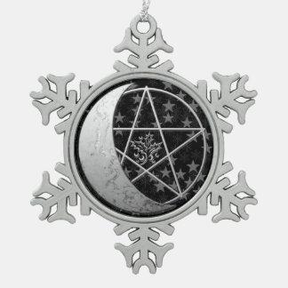 Adorno De Peltre Tipo Copo De Nieve Recuerdo creciente de plata 2 de la luna y del