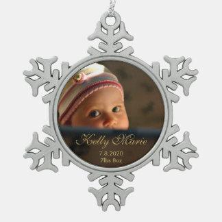 Adorno De Peltre Tipo Copo De Nieve Recuerdo de la foto del nacimiento del bebé