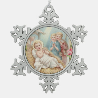 Adorno De Peltre Tipo Copo De Nieve Rosas de los niños de la natividad de Jesús del