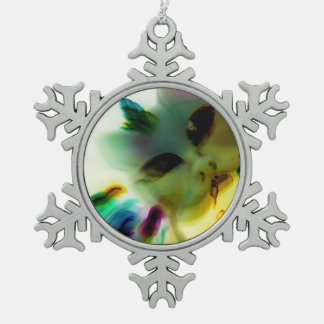 Adorno De Peltre Tipo Copo De Nieve Señora loca Pewter Snowflake Ornament del gato