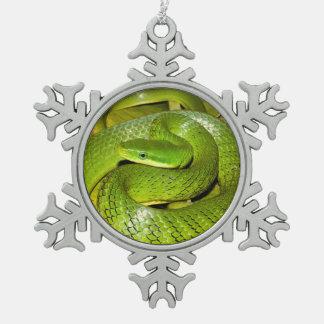 Adorno De Peltre Tipo Copo De Nieve Serpiente de rata verde de Bush