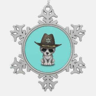 Adorno De Peltre Tipo Copo De Nieve Sheriff lindo del lobo del bebé