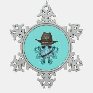 Adorno De Peltre Tipo Copo De Nieve Sheriff lindo del pulpo del bebé azul