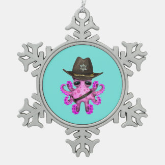 Adorno De Peltre Tipo Copo De Nieve Sheriff rosado lindo del pulpo del bebé