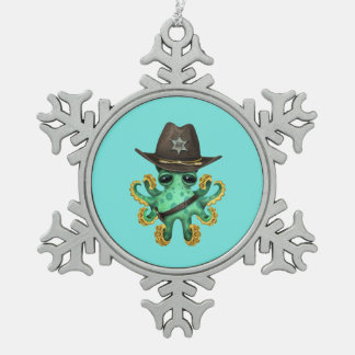Adorno De Peltre Tipo Copo De Nieve Sheriff verde lindo del pulpo del bebé