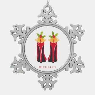 Adorno De Peltre Tipo Copo De Nieve Tacones altos rojos con el navidad Belces