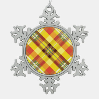 Adorno De Peltre Tipo Copo De Nieve Tela escocesa/tartán - girasol