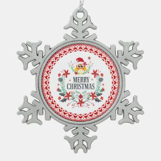 Adorno De Peltre Tipo Copo De Nieve Tipografía de las Felices Navidad y guirnalda del