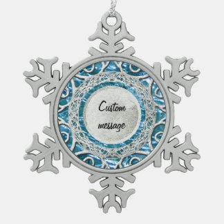 Adorno De Peltre Tipo Copo De Nieve Topaz de cristal Crackled del azul de Birthstone