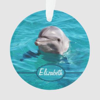 Adorno Delfín en foto del agua azul