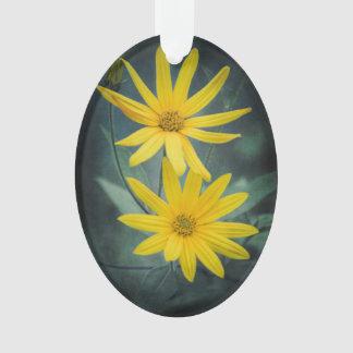 Adorno Dos flores amarillas de alcachofa de Jerusalén