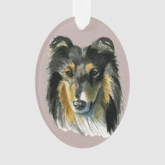 Adorno Ejemplo de la acuarela del perro del collie