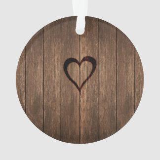 Adorno Impresión quemada madera rústica del corazón